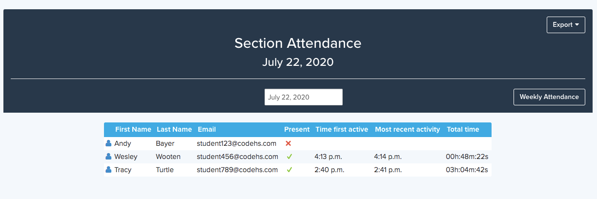 Section Attendance page showing student name, present, time student was active