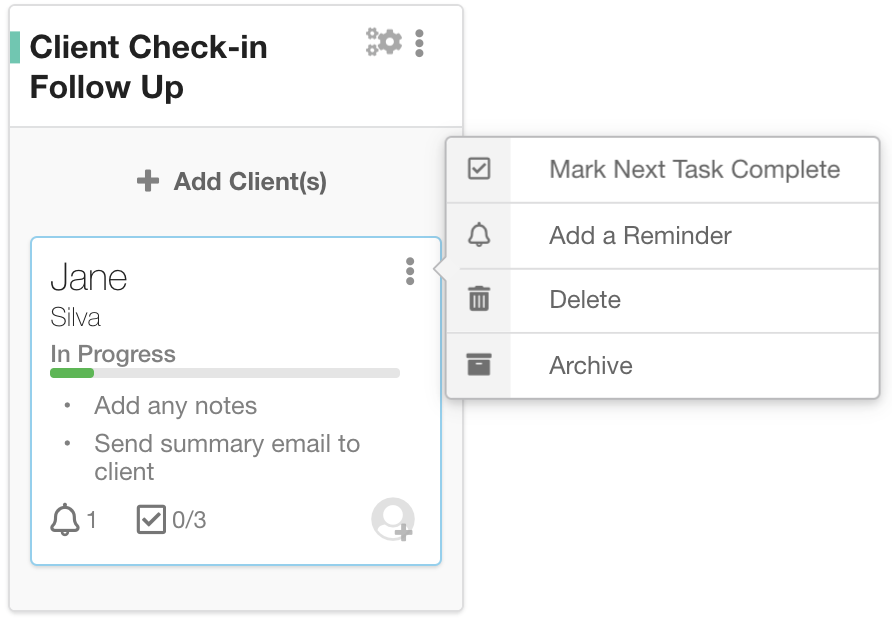 Reminders can be added quickly right from the main Hub through the client tile menu