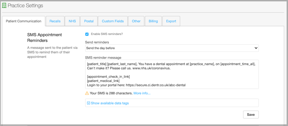 Dentally - Practice Settings - SMS Appointment Reminders settings