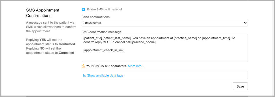 Dentally Practice Settings - SMS Appointment Confirmation settings