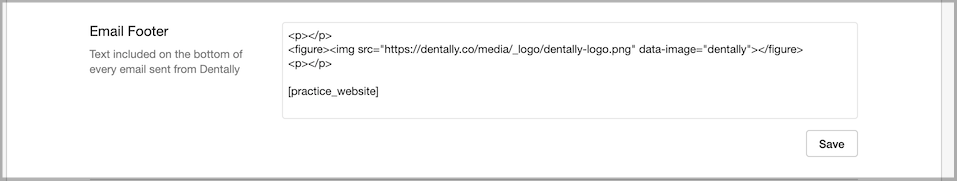 Dentally Practice Settings - Email Footer settings