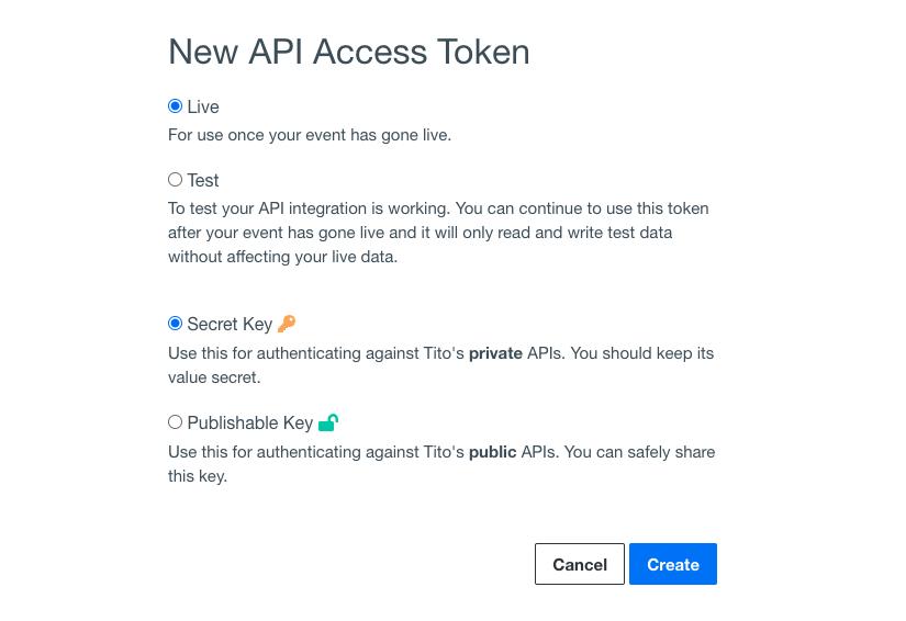 The New API Access Token in Tito.
