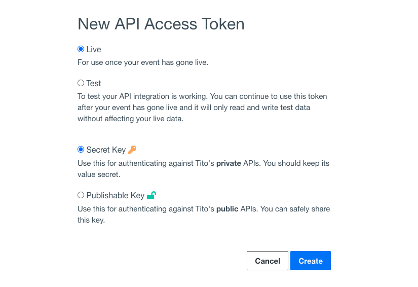 The New API Access Token in Tito.
