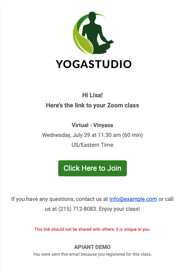 Custom branded emails for your Mindbody clients to join the Zoom meeting