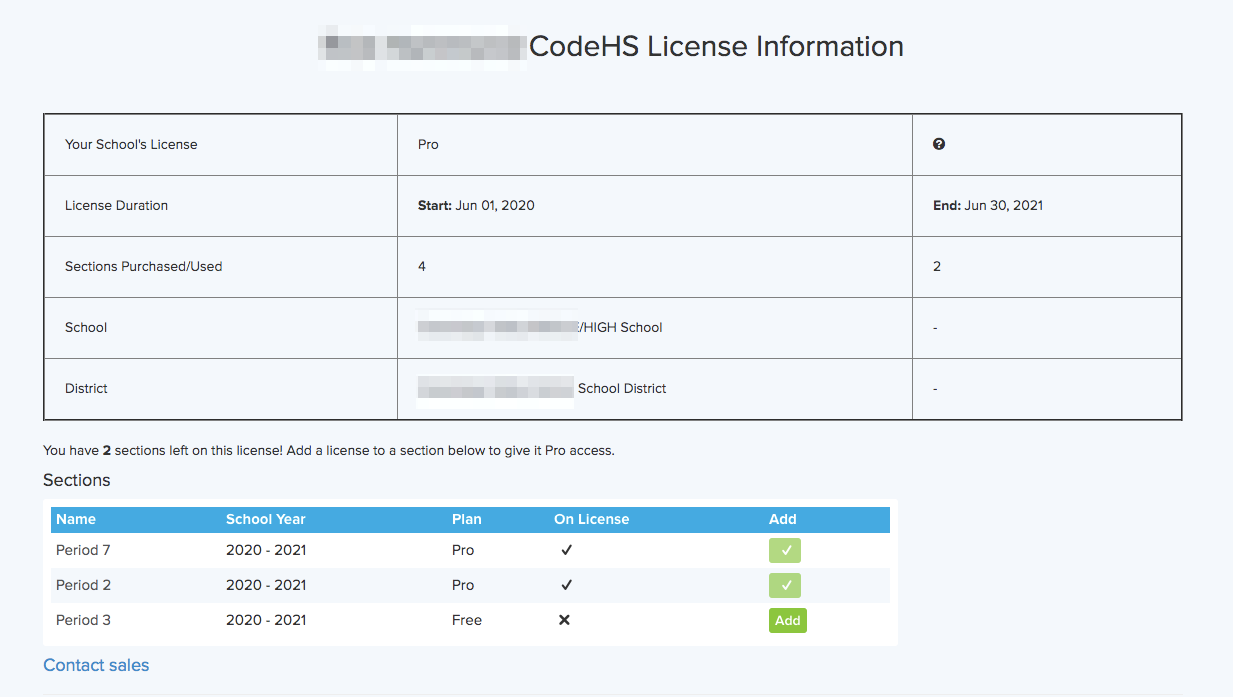View Pro license information and assign license to your sections