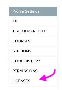 License tab in profile settings