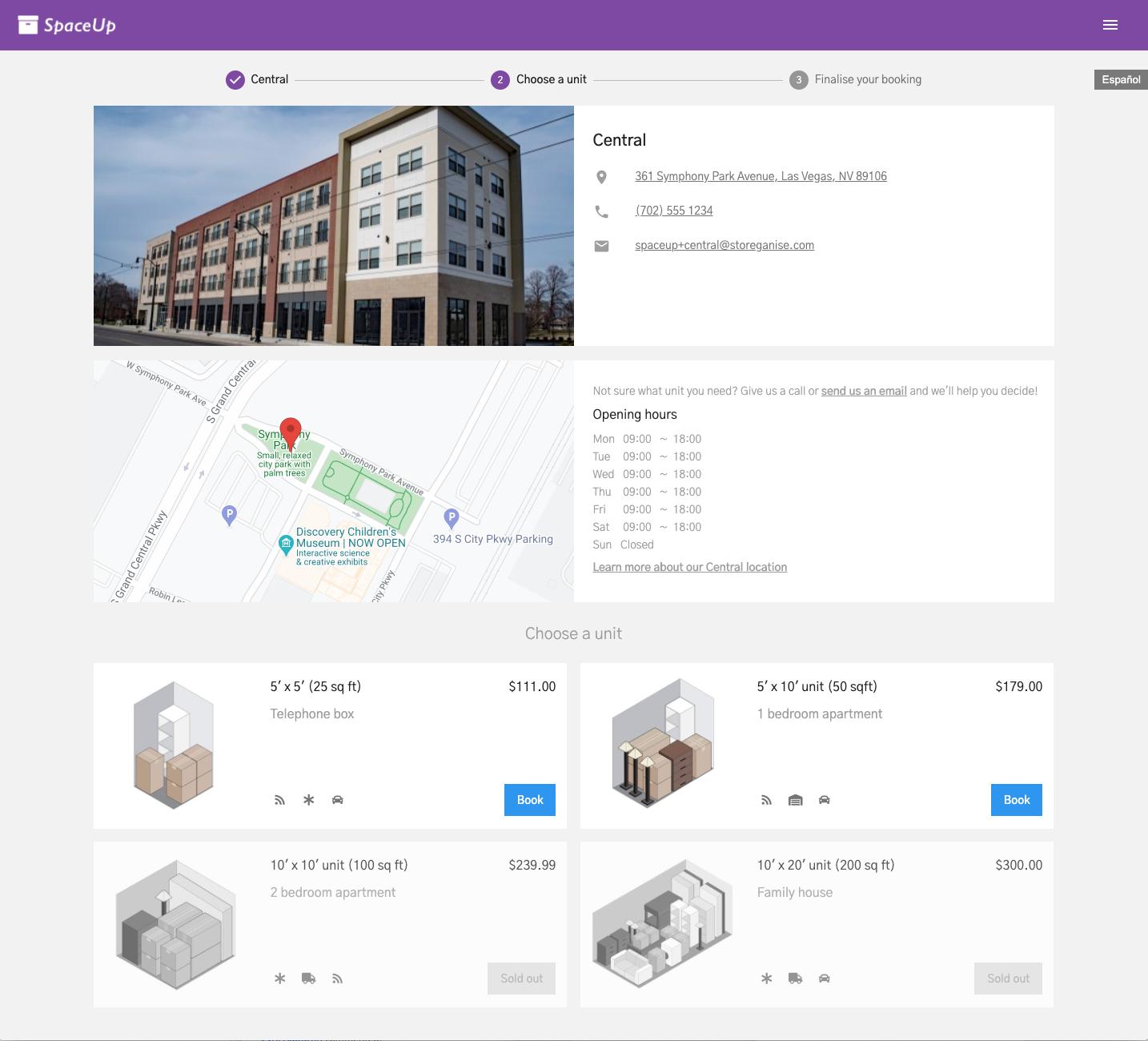 Units Customer App: Site details
