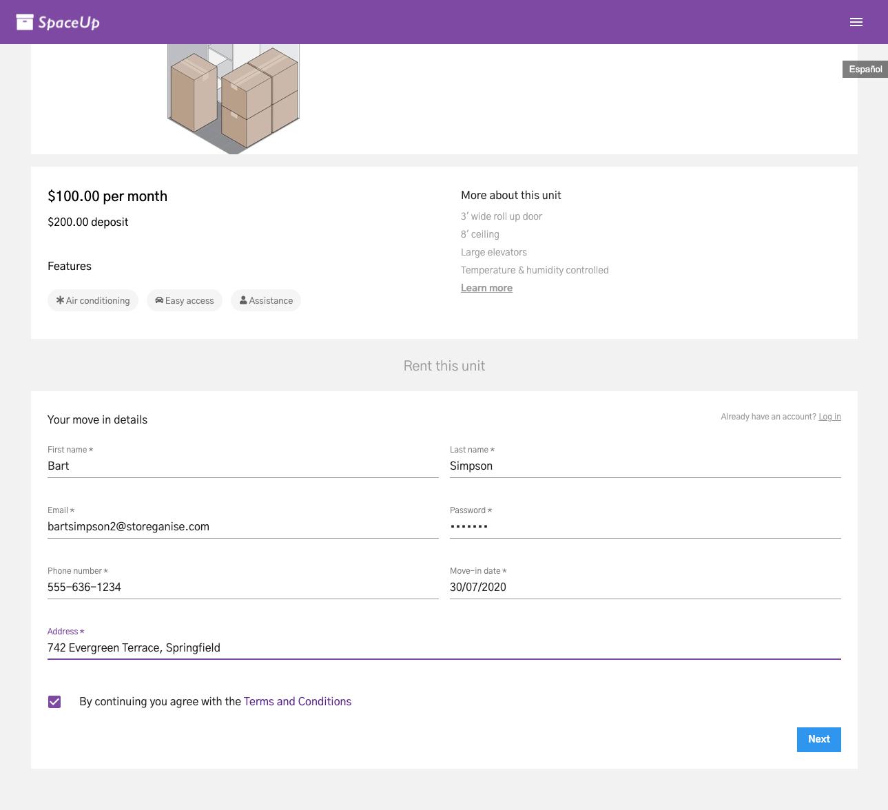 Units Customer App: Customer details & move-in information