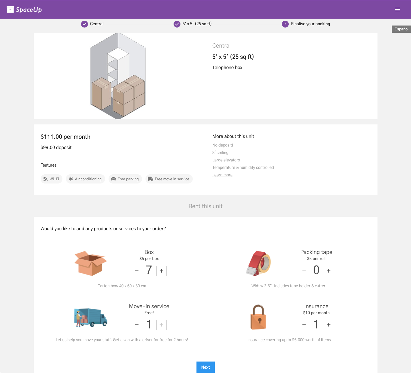 Units Customer App: Products & services