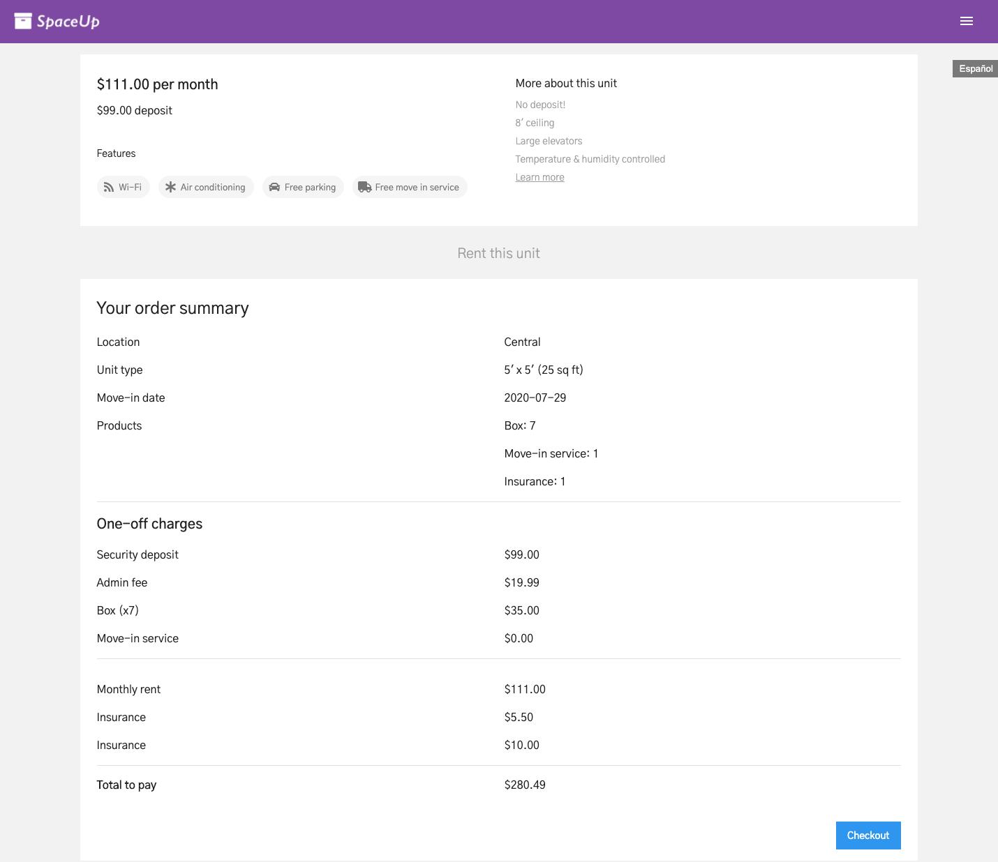 Units Customer App: Order summary