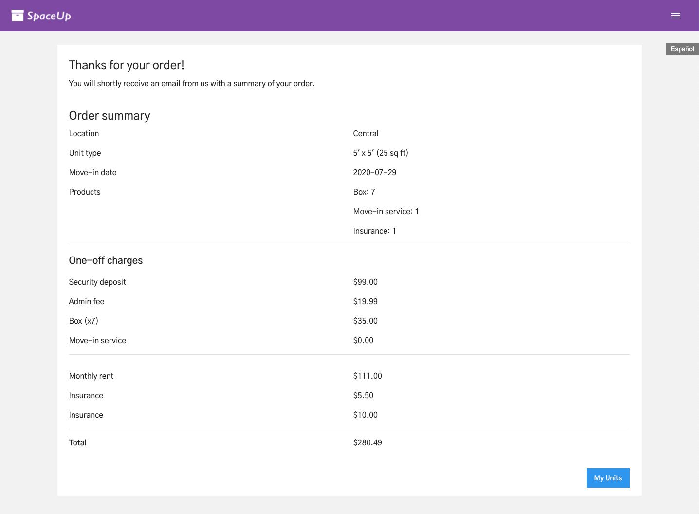 Units Customer App: Order confirmation