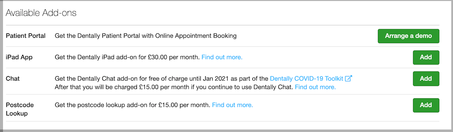 Dentally Practice Settings Billing Available Add Ons