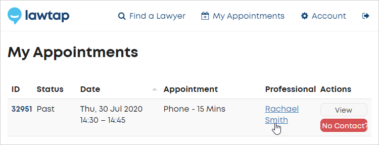 LawTap My Appointments area