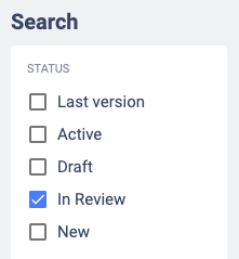 Filter in Review in the search section