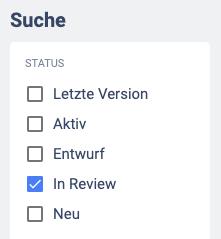 Filter in Review im Bereich der Suche