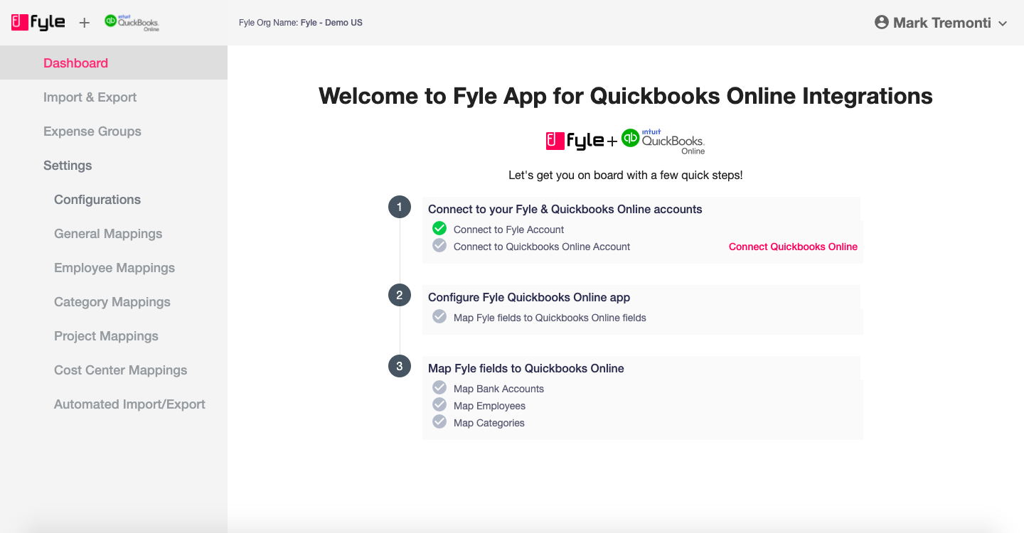 Connect Quickbooks Online account with Fyle app