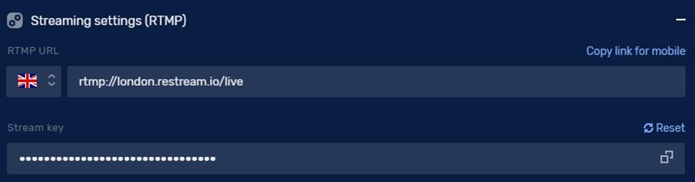 Restream streaming settings (RTMP)