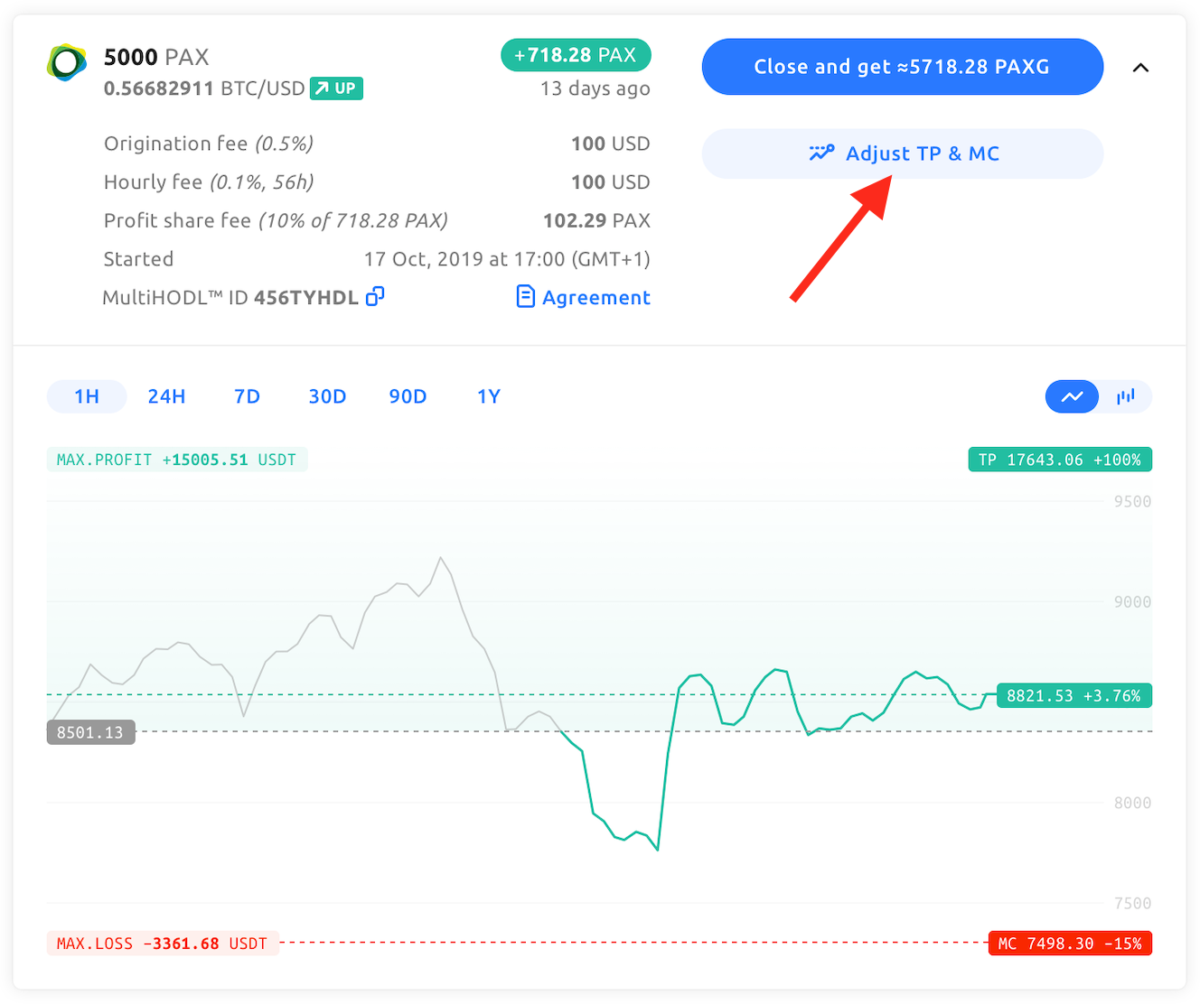Screenshot showing how to adjust margin call and take profit levels. Click the button that says