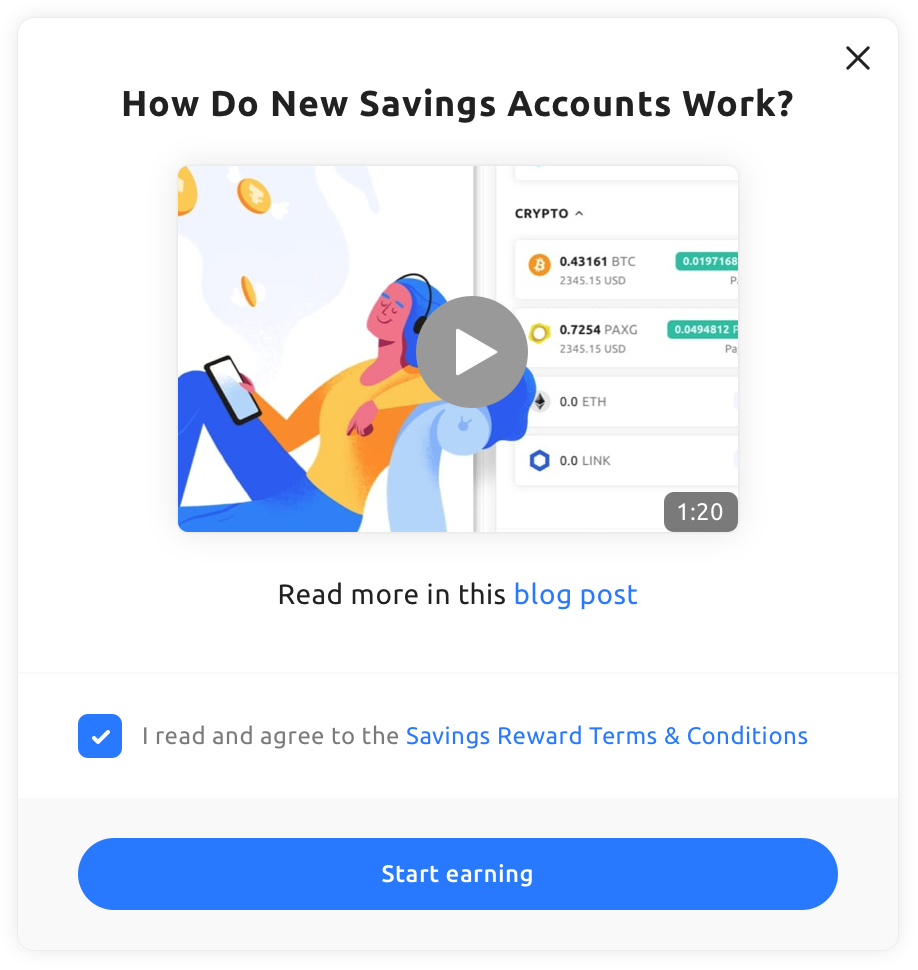 a screenshot showing a blog post about how crypto savings accounts work