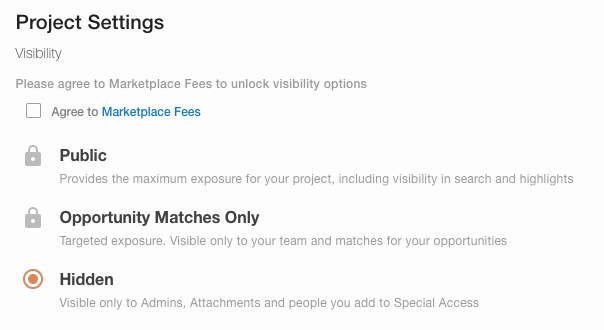 screenshot - visibility settings
