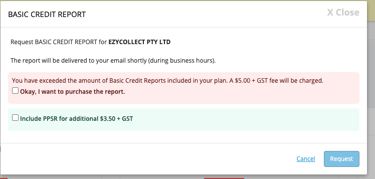 Basic Credit Report purchase not part of plan