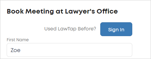 LawTap booking form Sign In button