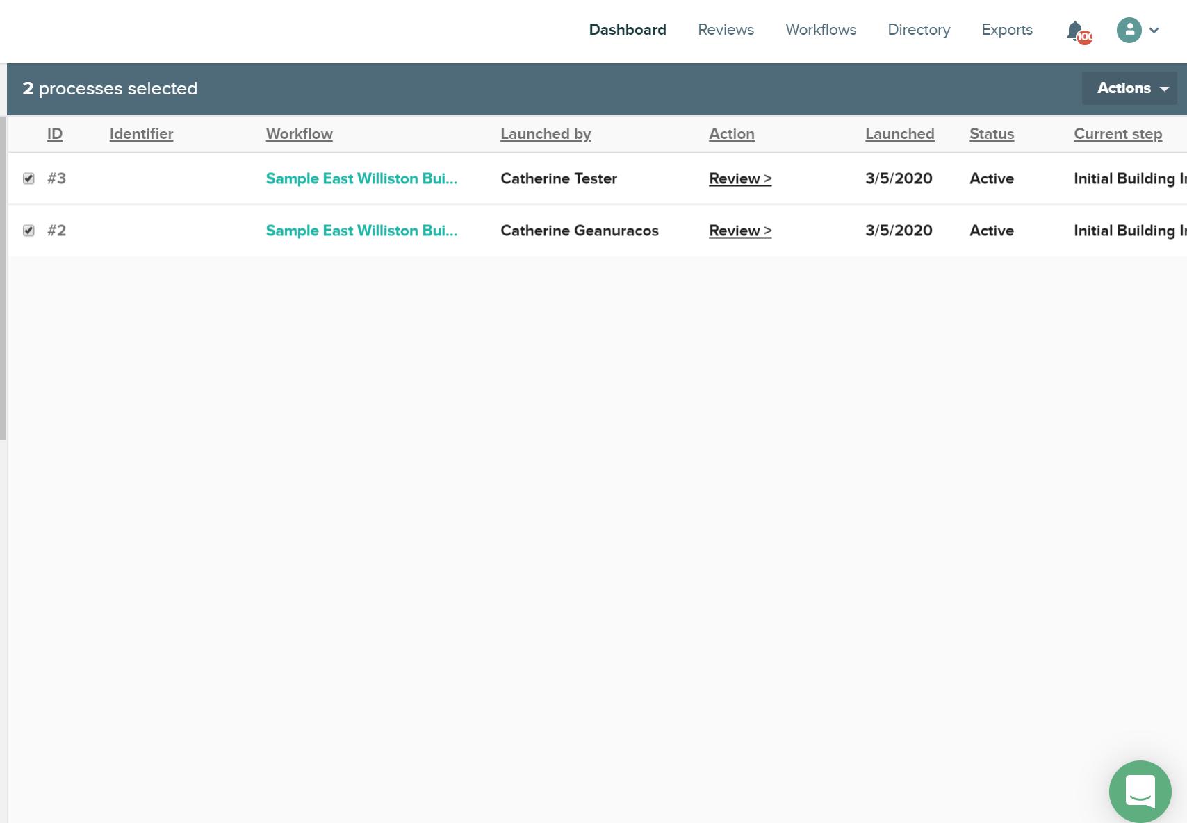 CityGrows Workflow dashboard