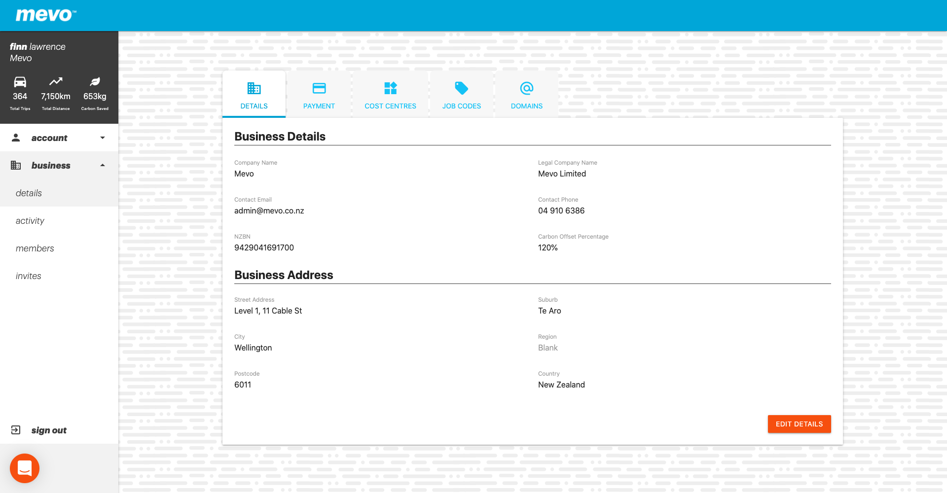 A screenshot of the Mevo for Business console showing a the company details and a button to edit them