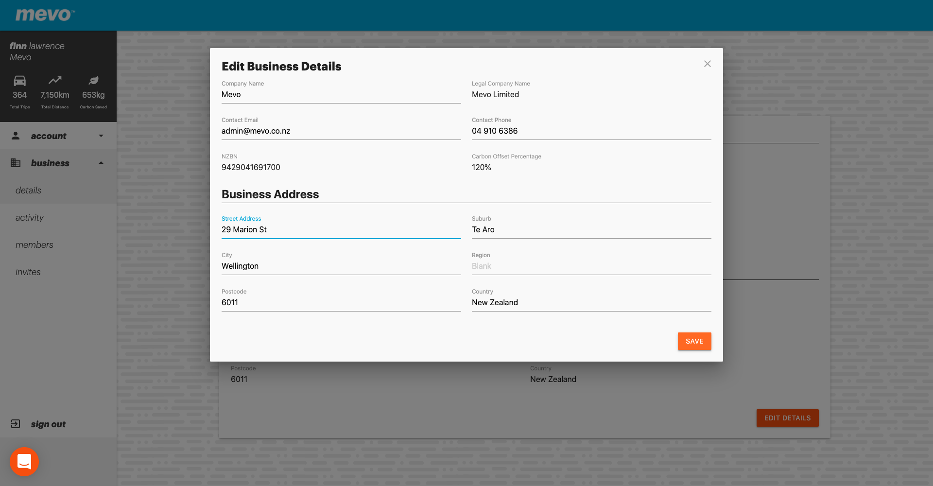 A screenshot of the Mevo for Business console showing a popup to edit the company details