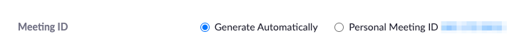 Meeting ID setting while creating a Zoom meeting showing the Generate Automatically option selected.