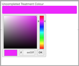 Dentally Practice Settings - unfinished treatment colour picker