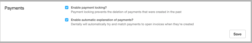 Dentally Practice Settings - Payments