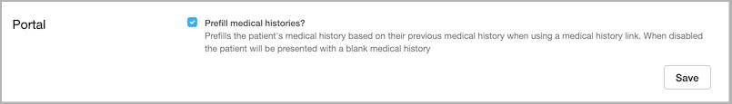 Dentally Practice Settings - Prefill Medical History