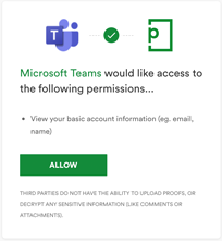 Microsoft Teams app and PageProof access permissions