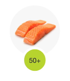 Salmon as an example of a protein scoring over 50.