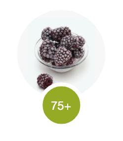 Frozen blackberries - an example of a 75+ scoring fruit.