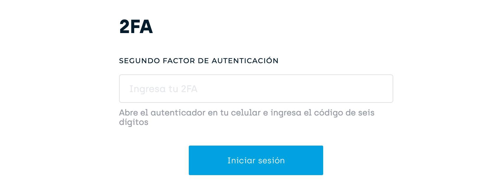 Ejemplo de inicio de sesión que solicita ingresar un segundo factor de autenticación (2FA).