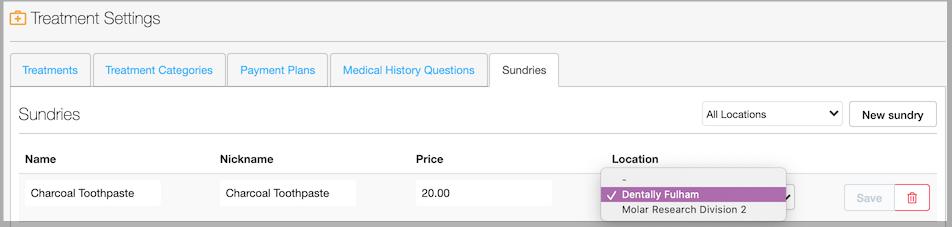 Dentally Sundry Items select multisite option