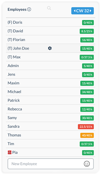 Colors in the employee list indicate if target hours are reached