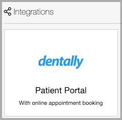 Dentally Integration Patient Portal with online appointment booking tab