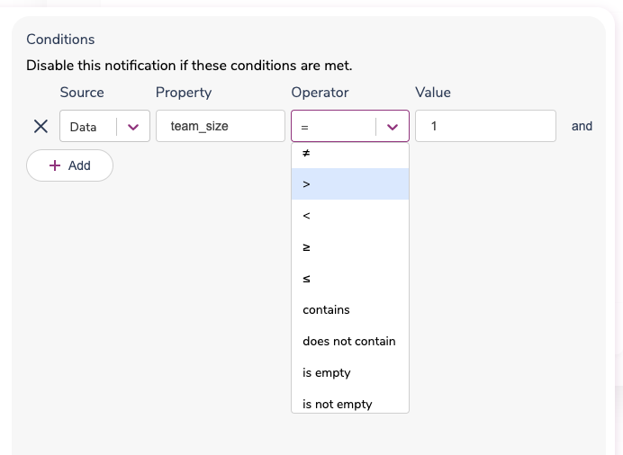 Set the Operator for a Data Property