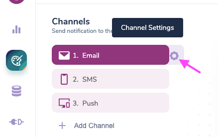 Select Email Channel Settings