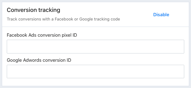 The Conversion tracking settings in Tito. There are Facebook Ads and Google Adwords conversion ID fields.
