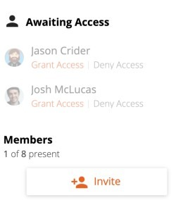 any team member can grant access to an invited team member in Retrium