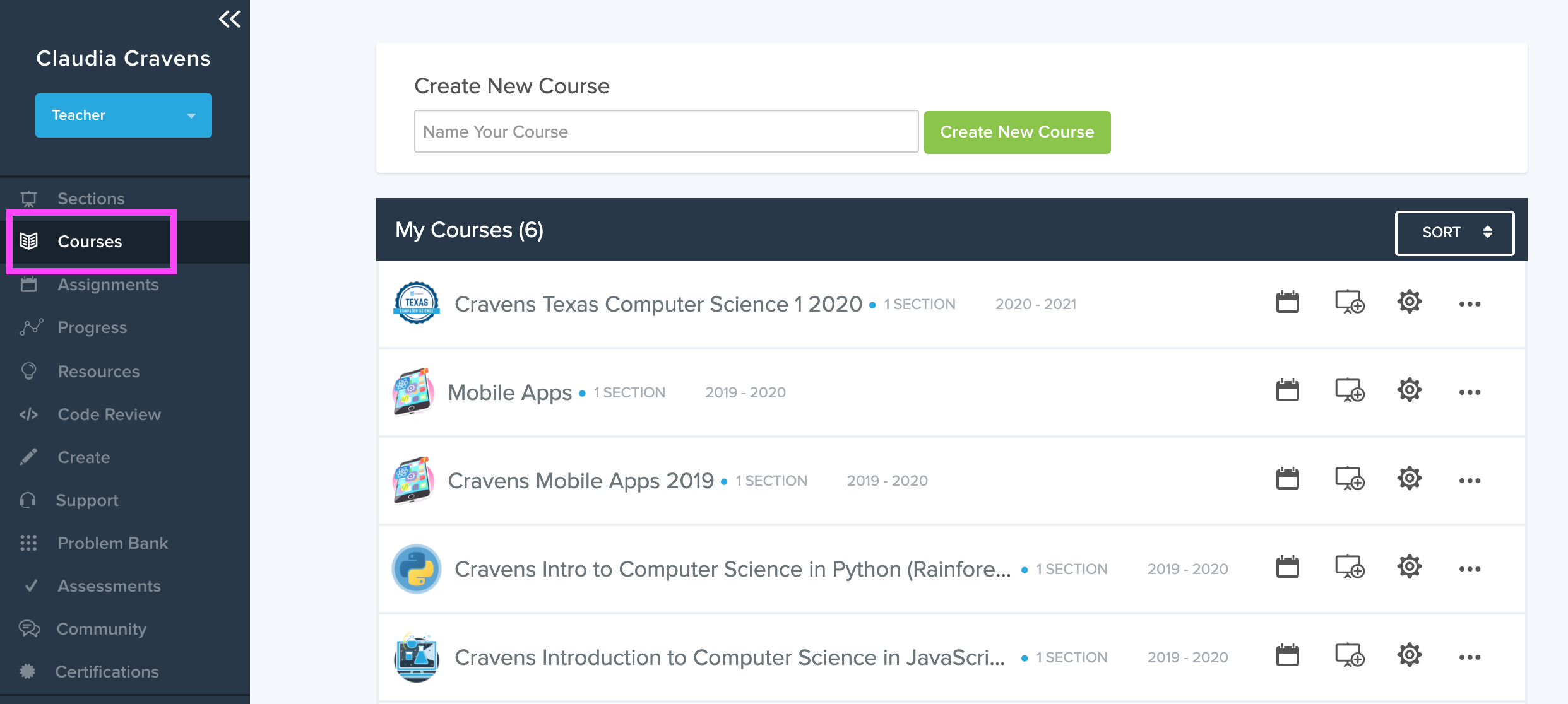 The link for the courses page is on the left hand, dark colored nav bar