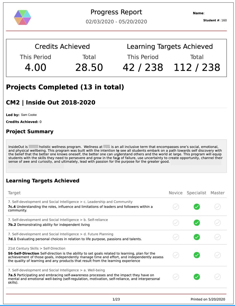 Report: Progress Summary