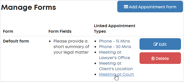LawTap Manage Forms area