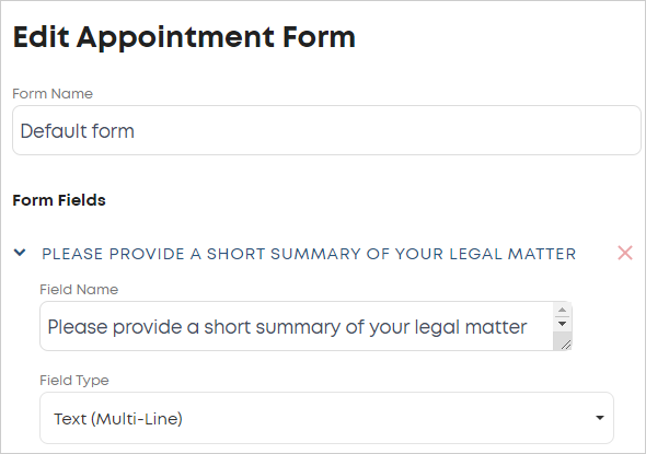 LawTap Edit Appointment Form area