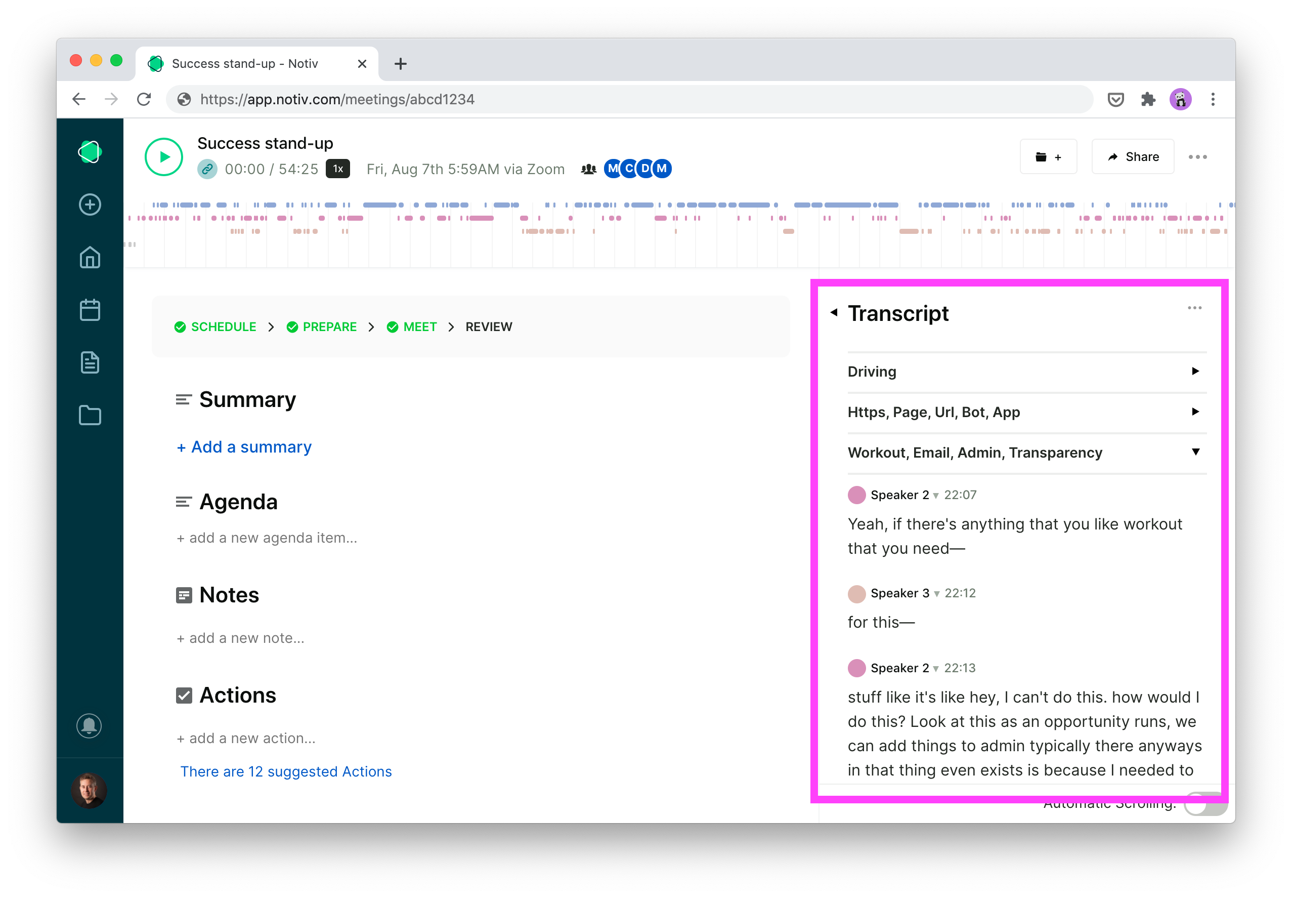 Notiv shows the transcript, AI talking points and Speakers in the right hand pane