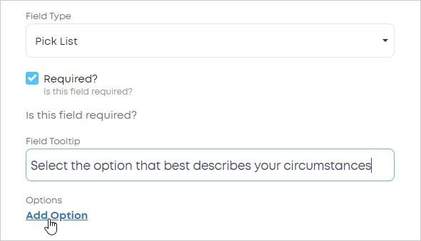 LawTap Pick List field add option